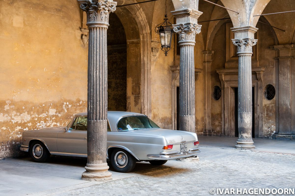 Vintage car inside a courtyard, Bologna
