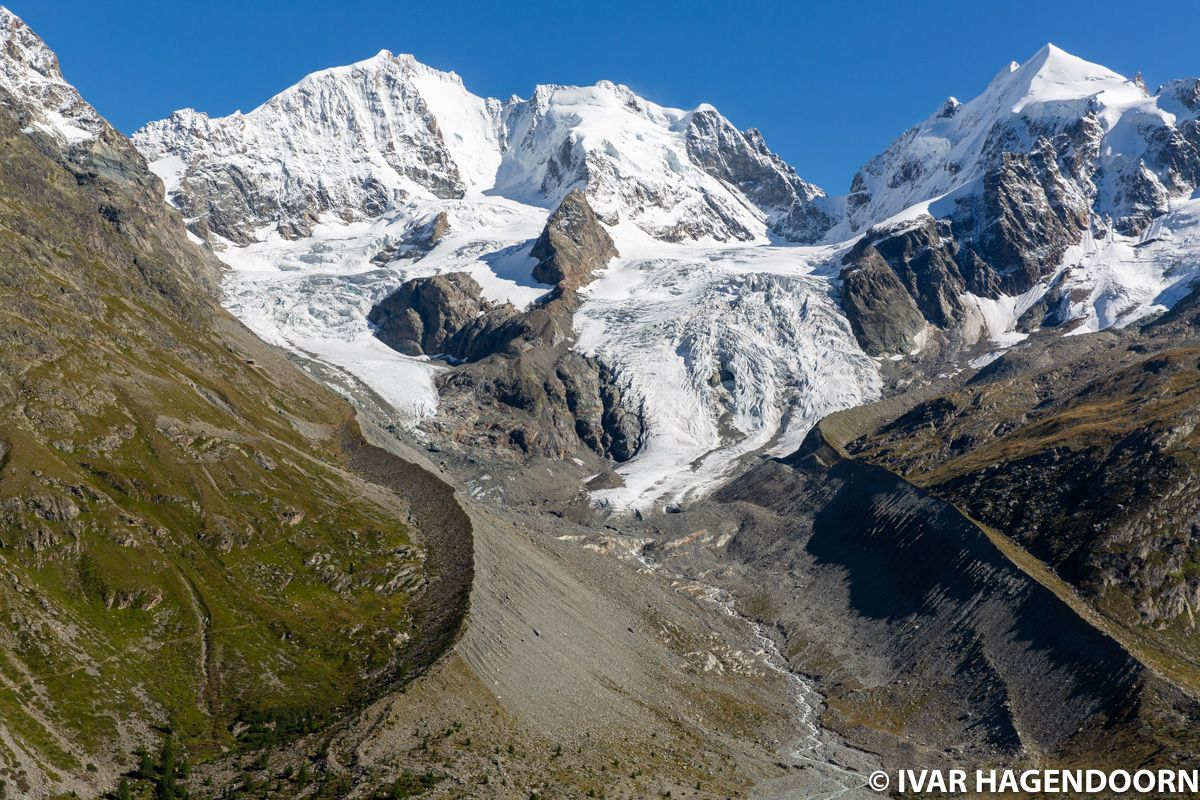 View of Piz Bernina and Tschierva Glacier from Fuorcla Surlej