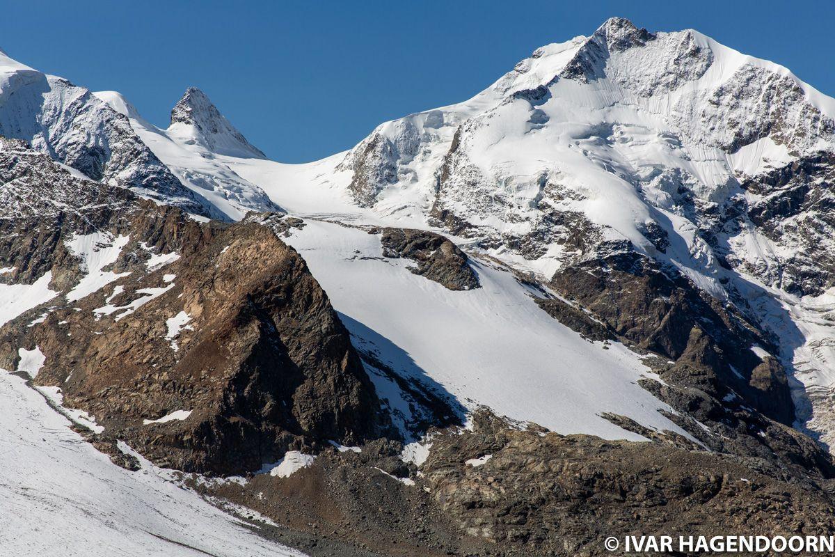 Piz Bernina as seen from the trail to Munt Pers