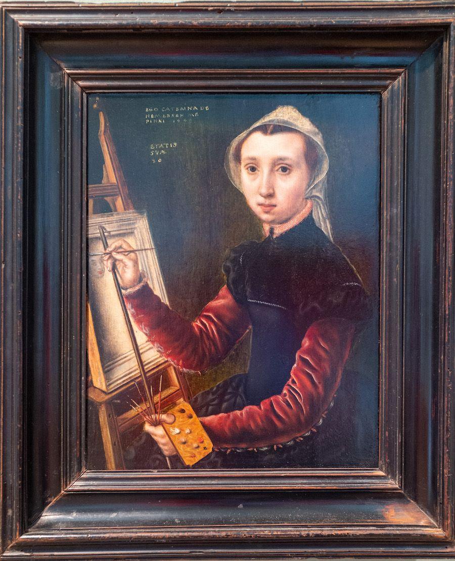 Catharina van Hemessen, Self-Portrait at the Easel (1548)